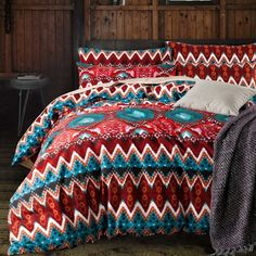 Teal and Garnet Red Vintage BOHO Style Aztec Stripe Print Moroccan Inspired Unique Luxury Full, Queen Size Bedding Sets