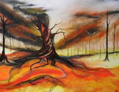 This piece is influenced by gothic films, the British Trees and Landscapes around me and features key elements from my 'Landscape Moods' series of paintings. This painting features a central figure of a knotted, undulating gothic tree which gives the impression it is deeply linked and almost consumed by the landscape it lives in. The owl featured is created on music score coloured with beautiful Derwent Aquatone Pencils and is selectively enhanced by embossing powders.
