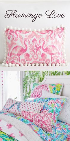 FLAMINGO LOVE Fancy flamingos and pom-pom fringe give this pillow its happy-go-lucky style. The brilliant pink print decorates white cotton canvas and features a coordinating print on the reverse. #ad #flamingo #home #decor #flamingohome #flamingodecor #summer #flamingolove
