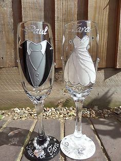 #Personalised hand #painted glass #champagne flutes bride and groom wedding , View more on the LINK: http://www.zeppy.io/product/gb/2/262490538697/