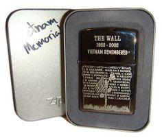 2004 Vietnam Memorial Zippo  |  The Wall Zippo Limited Edition, Zippo Lighter, Vietnam War, Military, Ads, Lights, History, Historia, Lighting