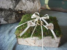 Birch Bark and Moss Ring bearer's pillow with engraved MR & MRS hearts,for your woodland nature themed fairytail wedding.. $28.75, via Etsy.