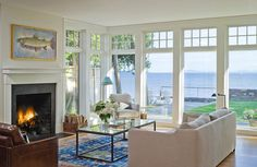 Lovely hues are found in this living room. The furniture was kept low so as not to block the view...
