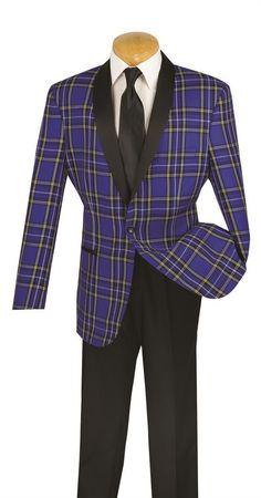 ec096356673d NEW WITH TAG MEN'S BLUE TUXEDO CLASSIC FIT WINDOW PANE DESIGN Plaid Jacket,  Tuxedo Jacket