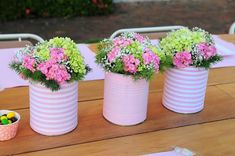 20 tin can craft ideas for flower vases and plant pots, Show Your Crafts and DIY Projects. Diy Flowers, Flower Vases, Flower Decorations, Flower Pots, Table Decorations, Flower Ideas, Rose Flowers, Green Flowers, Birthday Decorations