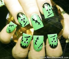 Frankenstein Halloween nail art - Nail Designs & Nail Art
