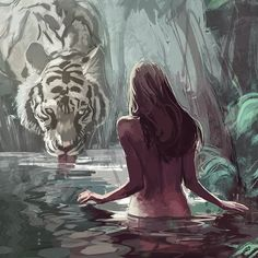 girl and tiger by Mahdieh Farhadkiaei on ArtStation Big Cats Art, Cat Art, Art Sketches, Art Drawings, Drawing Faces, Fantasy Art Women, Art Asiatique, Fantasy Artwork, Aesthetic Art