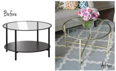 vittsjo coffee table before and after gold spray paint metal glass round diy chopping . how to hack the ikea vittsjo coffee table brass EK★ Ikea Hacks - VITTSJO More Designers love IKEA: It is great design, affordable, and IKEA . Ikea Hack Vittsjo, Ikea Hack Gold, Diy Kallax, Craft Table Ikea, Craft Room Tables, Diy Table, Coffee Table Ikea Hack, Diy Furniture Ikea, Furniture Ideas