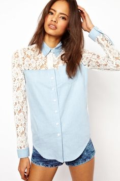 Lace Splicing See-through Lapel Long Sleeve Blouse
