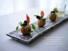 Frites de Taro et Truffe noire 山口県産海老芋とフランスの黒トリュフを珍しくフリットに バイヨンヌの生ハムと春の七草から「セリ」 優しい酸味の山口県産レモン果汁を添えて