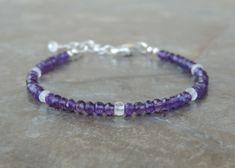 Amethyst Bracelet - Rainbow Moonstone Bracelet for Women - Dainty Bracelet - Delicate Bracelet - Simple Bracelet for Her - Sterling Silver by lelizabethjewelry on Etsy https://www.etsy.com/listing/604279811/amethyst-bracelet-rainbow-moonstone
