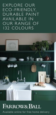 A Farrow & Ball in-home colour consultancy is an extra helping hand in creating a home you can't wait to come back to, offering off your Farrow & Ball décor order on all bookings in February. Farmhouse Kitchen Decor, House Colors, Farrow Ball, Kitchen Decor, Kitchen Remodel, Green Kitchen, Interior, Home Decor, Kitchen Inspirations