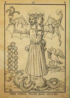 Alchemy Woodcut duos caputis melior quam unus est by dashinvaine on deviantART / Inner Marriage / Sacred Femme / Divine Masculine / Embodied Occult Symbols, Occult Art, Vintage Tarot Cards, Alchemy Art, Art Carte, Esoteric Art, Mystique, Medieval Art, Medieval Tattoo