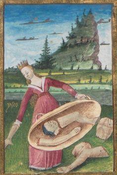 Medieval illumination of Isis gathering Osiris' body parts. Boccaccio, Des cas des nobles hommes et femmes. 15th century.