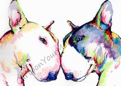 Bull Terrier watercolor print