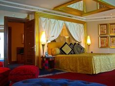 The upstairs bedroom in my 2-story suite at the Burj-al-Arab, Dubai