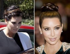 Gorgeous Kim Kardashian Inspired Updo Hairstyles - Braided Bun  #hairstyles #kimkardashian