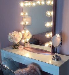 On table top: mirror, cotton ball and q-tip holder, makeup quote, candle, ? light up mason jars with Polaroids Makeup Vanity Lighting, Makeup Vanity Mirror, Vanity Room, Vanity Desk, Vanity Mirrors, Makeup Light, Vanity Tables, Makeup Vanities, Make Up Mirror