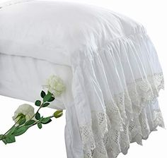 Queen's House White Pillowcases Vintage Farmhouse Crochet Pillow Cover Queen Shams Set of F Ruffle Pillow, Crochet Pillow, White Pillow Cases, Pillow Covers, Pillow Shams, Country Bedspreads, Shabby Chic Sheets, Best Cooling Sheets, Best Silk Pillowcase