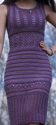 Купить Платье оттенка лаванды - сиреневый, орнамент, платье, вязаное платье, фиолетовый, ажурное платье