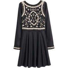 H&M Beaded dress (580 SEK) ❤ liked on Polyvore featuring dresses, h&m, black, embroidered dress, tassel dress, long skater skirt, embroidery dresses and knee length flared skirts