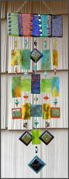 """""""Twiligh"""" ~ Kirk's Glass Art fused and stained glass windchimes"""