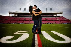 If I ever have the chance to take some rock start football players engagement pictures we are doing at least one shoot on the field : ) Football Engagement Pictures, Engagement Shots, Football Photos, Engagement Couple, Country Engagement, Fall Engagement, Prom Photos, Prom Pictures, Couple Pictures