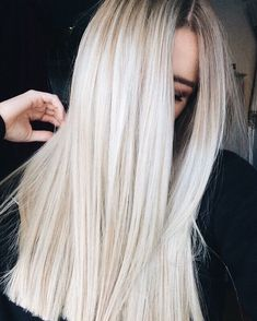 Ashy platinum blonde hair straight hairstyles rooty