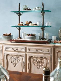 Lovely French Country Sideboard With Dessert Stand