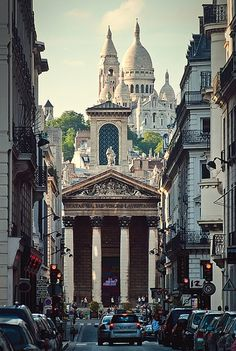 Sacre Coeur overlooking Montmartre, Paris (France)