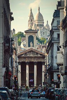 Sacre Coeur overlooking Montmartre, Paris (France)