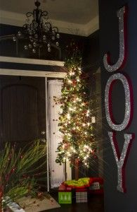 Christmas 2013 - DIY JOY glitter letters - red and green Christmas tree and Christmas decor