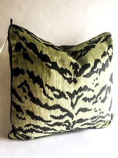 Scalamandre Green Tiger Pillow