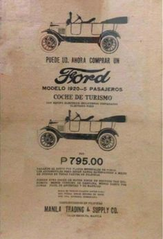 PhP: Philippine History in Pictures : 1920 Ford Vehicle Advertisement, Manila Philippine...