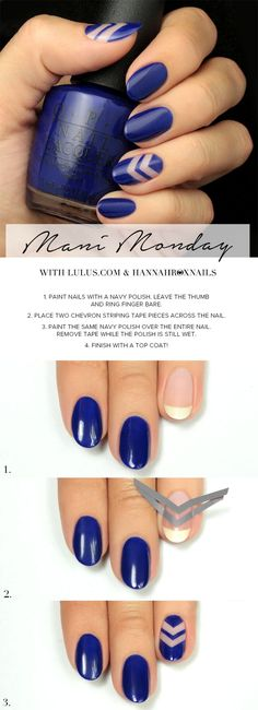 Navy blue negative space nail art tutorial.