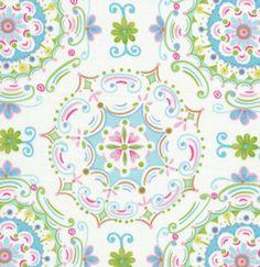 Tea Garden Dream Right Blue Fabric FS Kaleidoscope Tile Pastel Blue Green Yellow Pink on Ivory