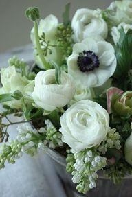 anemone and ranunculus Green Flowers, My Flower, White Flowers, Beautiful Flowers, Simply Beautiful, Spring Flowers, Beautiful Flower Arrangements, Floral Arrangements, Dahlia
