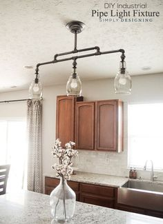 DIY Industrial Pipe Multi-Light Fixture