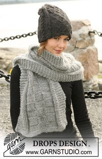 """DROPS double hat with cables and rib in 2 threads """"Alpaca"""" and scarf in """"Eskimo"""" with texture squares ~ DROPS Design Knitting Patterns Free, Knit Patterns, Hand Knitting, Free Pattern, Drops Design, Garnstudio Drops, Knit Crochet, Crochet Hats, Hooded Scarf"""