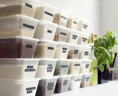 space saving storage containers for the kitchen, labeled with #dymo