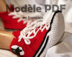 patron tricot pantoufle converse adulte