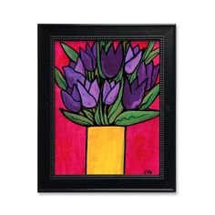 Purple Tulip Print - Bold Color Art Print with Purple Flowers in Yellow Vase on Vibrant Deep Pink - Floral Wall Art Decor for Bedroom Yellow Vase, Bright Yellow, Tulip Painting, Purple Tulips, Floral Wall Art, Bold Colors, Flower Art, Wall Art Decor, Original Paintings