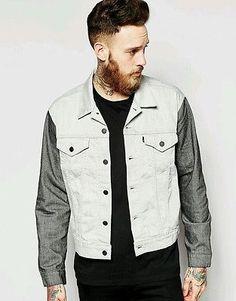 Levi's Line 8 Denim Jacket Indie Hipster Trucker Contrast Sleeves Large RRP £70