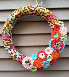Spring Wreath Wrapped with Colorful Fabric by stringnthings