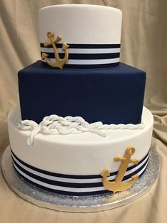 wedding cakes with cupcakes Nautical Birthday Cakes, Nautical Wedding Cakes, Nautical Cake, Fall Wedding Cakes, Wedding Cakes With Cupcakes, Cupcake Cakes, Nautical Theme, Wedding Themes, Beautiful Cakes