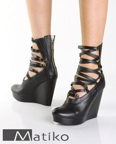 Matiko Alexis Black Leather Corset Front Wedge Boots $169.00