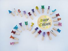 Small Clothespins, Alphabet x26 Up Case Letters mini pins, Colored Wooden mini Clothespins - pinned by pin4etsy.com