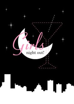 Pink And Black Skyline Girls Night Out Invitation by PurpleTrail.com. #halloweengirlsnightout #halloween #halloweenbacheloretteparty #bacheloretteparty