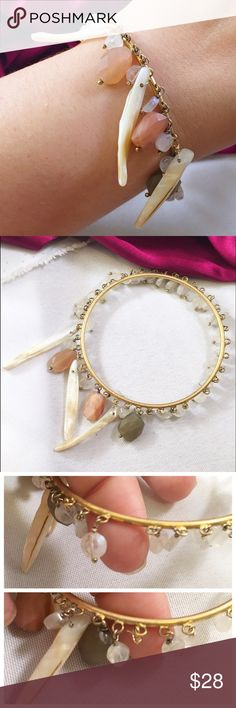 """WENDY MINK Shell & Quartz Bangle Pre loved. Beautiful and unique bangle with a tribal layout in genuine shells and quartz on a 18KT coated bangle purchased at a sample sale directly from her store on Orchard Street measures approx 2.75"""" in diameter Wendy Mink Jewelry Bracelets"""
