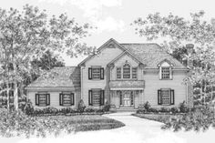 Traditional Style House Plan - 4 Beds 3 Baths 2222 Sq/Ft Plan #12-121 Front Elevation - Houseplans.com